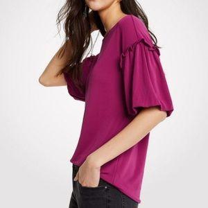 Ann Taylor Blouse Ruffle Bubble Sleeve Top Purple